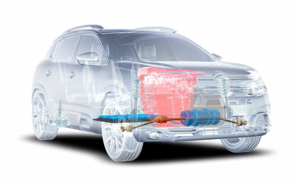Interior de coche híbrido enchufable